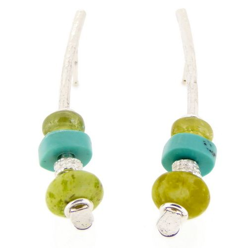 Serpentine earrings sterling silver and green garnet medium arc shape